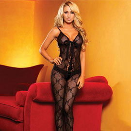Hustler Bow Lace Crothless Bodystocking W/Lace Up Front